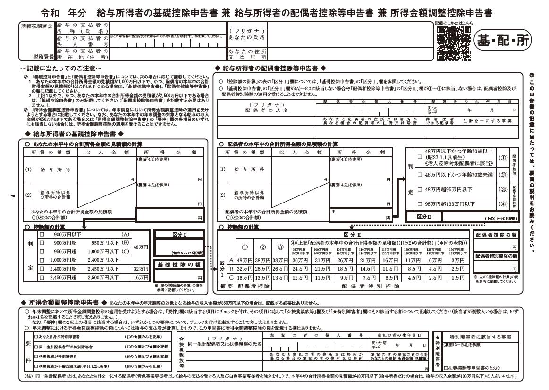 給与所得者の基礎控除、配偶者(特別)控除及び所得金額調整控除の申告